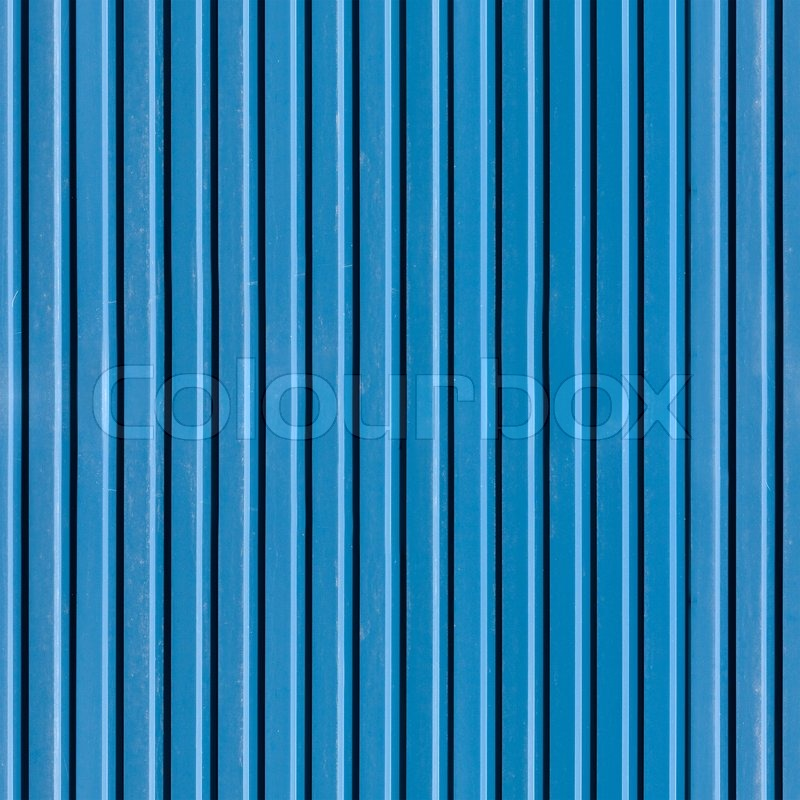 Ridged blue painted metal wall, seamless detailed photo ...