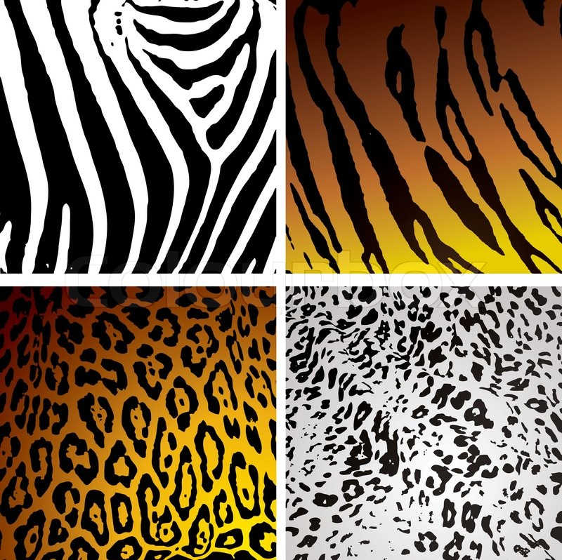 Animal Skin Backgrounds With Different Camouflage Textures