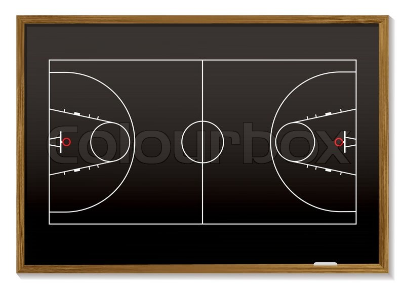 Black board with outline of basketball court ideal for for How much to make a basketball court