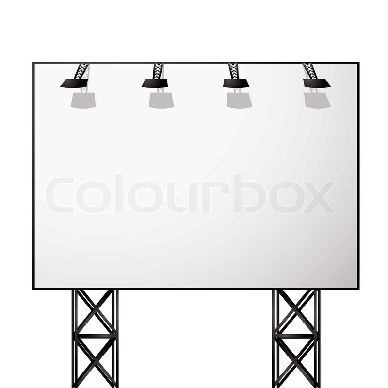 White blank billboard with black metal truss frame | Stock Vector ...
