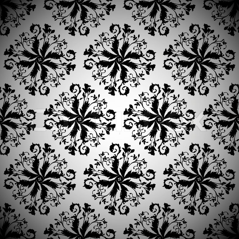 Black Repeating Seamless Design Illustrated Pattern With Silver Background