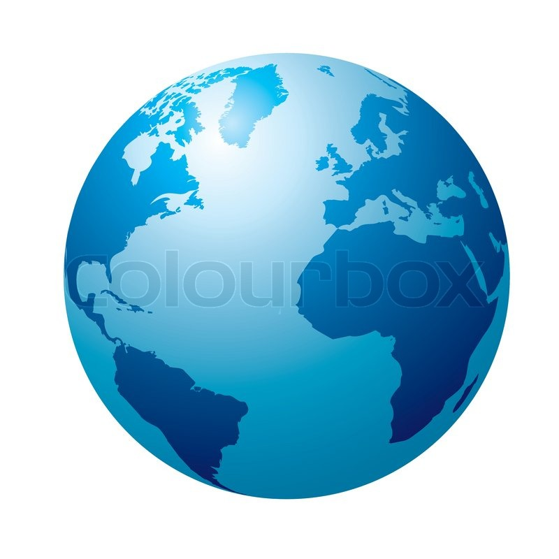 Blue Circular Globe Showing North America And Europe Stock