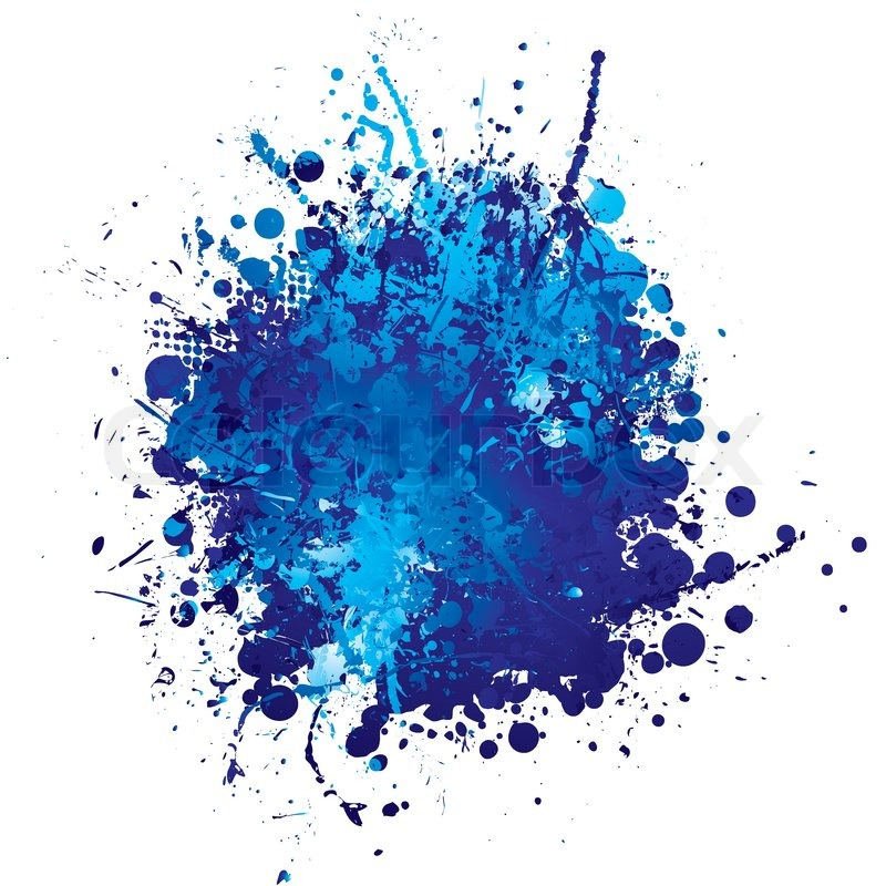 Shades Of Blue Abstract Ink Splat With White Background