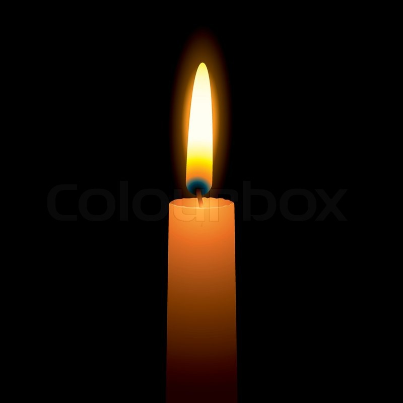 Single Candle With A Bright Burning Flame And Hot Wax