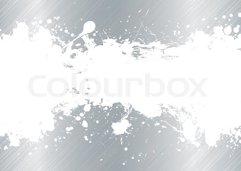 Silver Brushed Metal Background With White Ink Splat