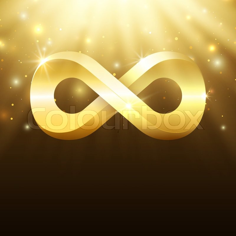 Abstract Background With Light Rays Stars And Gold Infinity Symbol