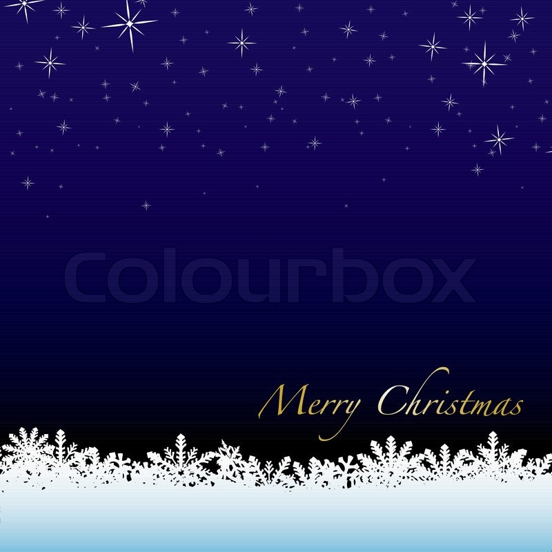 Christmas winter scene with snow drift and starry night sky ...