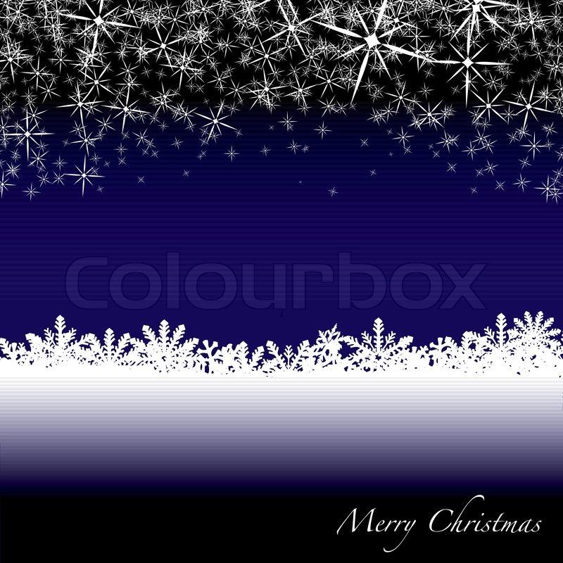 Blaue und weiße Weihnachten-Szene mit Schneeflocken vom Himmel ...