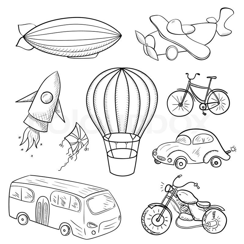 Sketches Means Of Transport Black And Stock Vector Colourbox