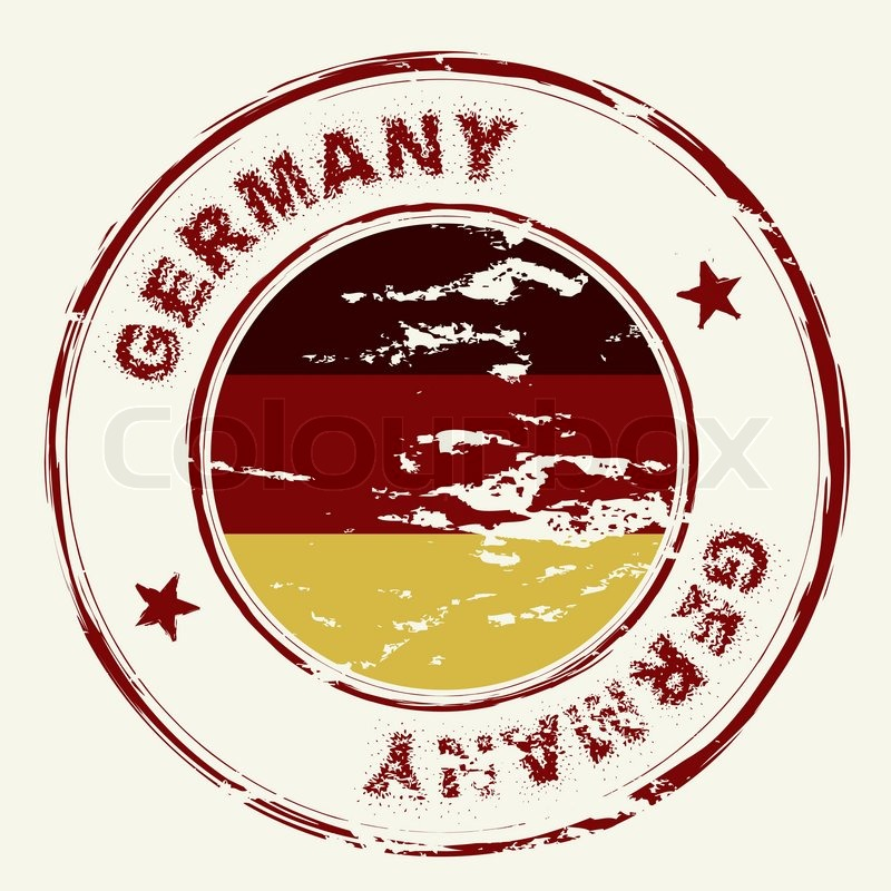 Grunge Ink Stamp With German Flag And