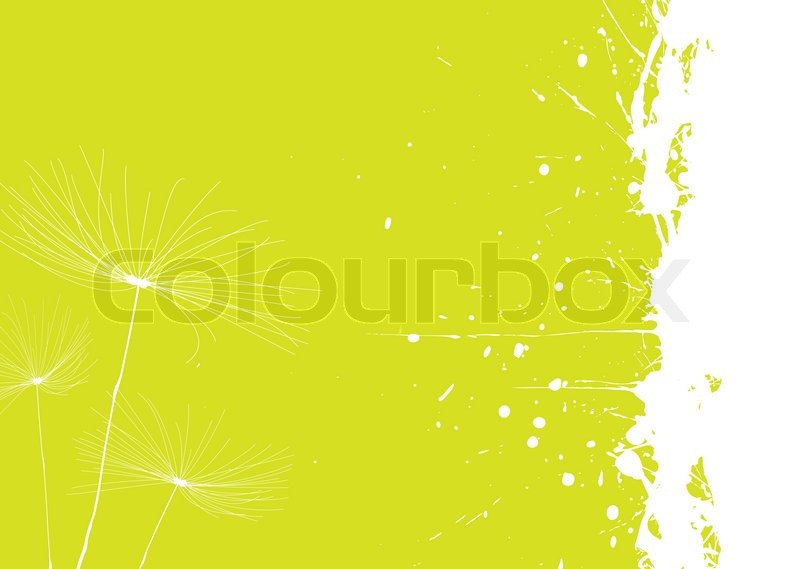 Stock vector of 'Green and white dandelion background with copyspace'
