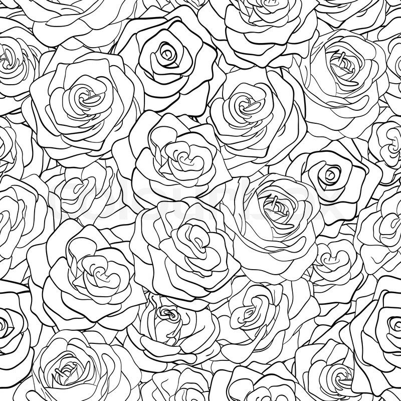 Beautiful black and white seamless pattern in roses with contours beautiful black and white seamless pattern in roses with contours hand drawn contour lines and strokes perfect for background greeting cards and m4hsunfo