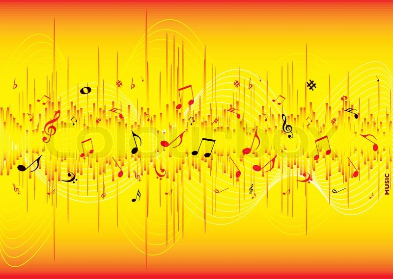 Red And Yellow Musical Inspired Abstract Background With