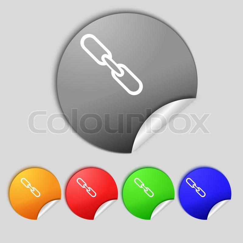 Link sign icon. Hyperlink chain symbol. Set colourful ...