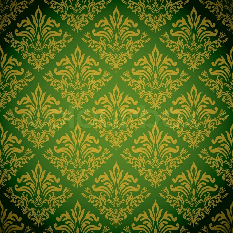 Green And Gold Background With A Seamless Repeat Design