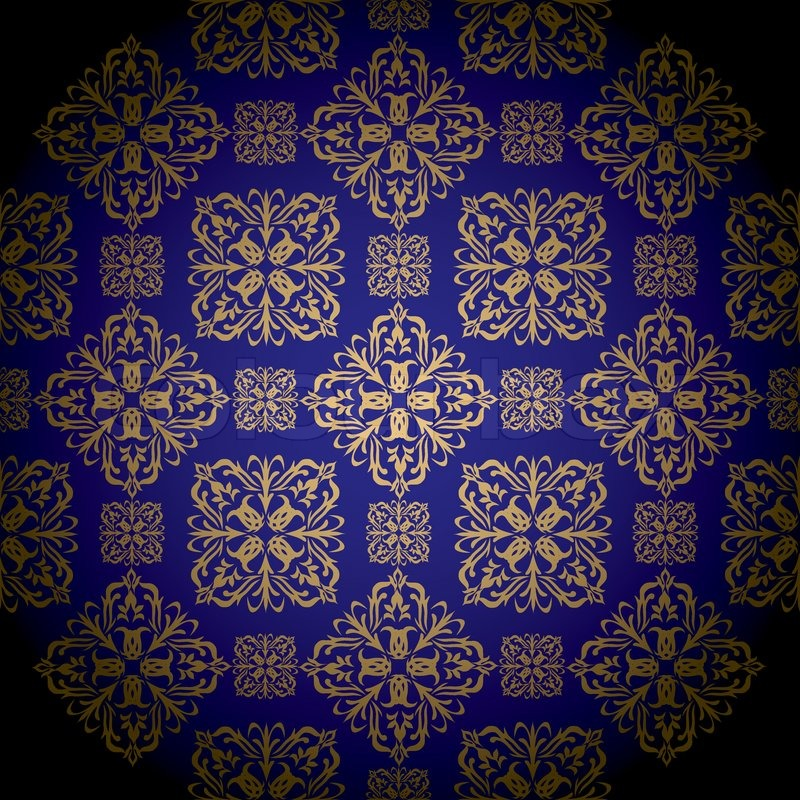 Blue And Gold Royal Wallpaper With Seamless Repeat Pattern