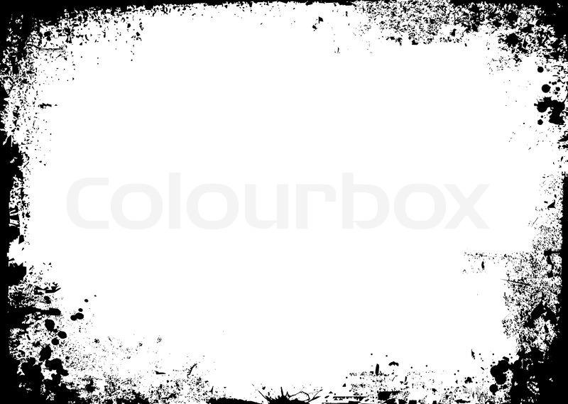 black and white ink splat border in landscape stock