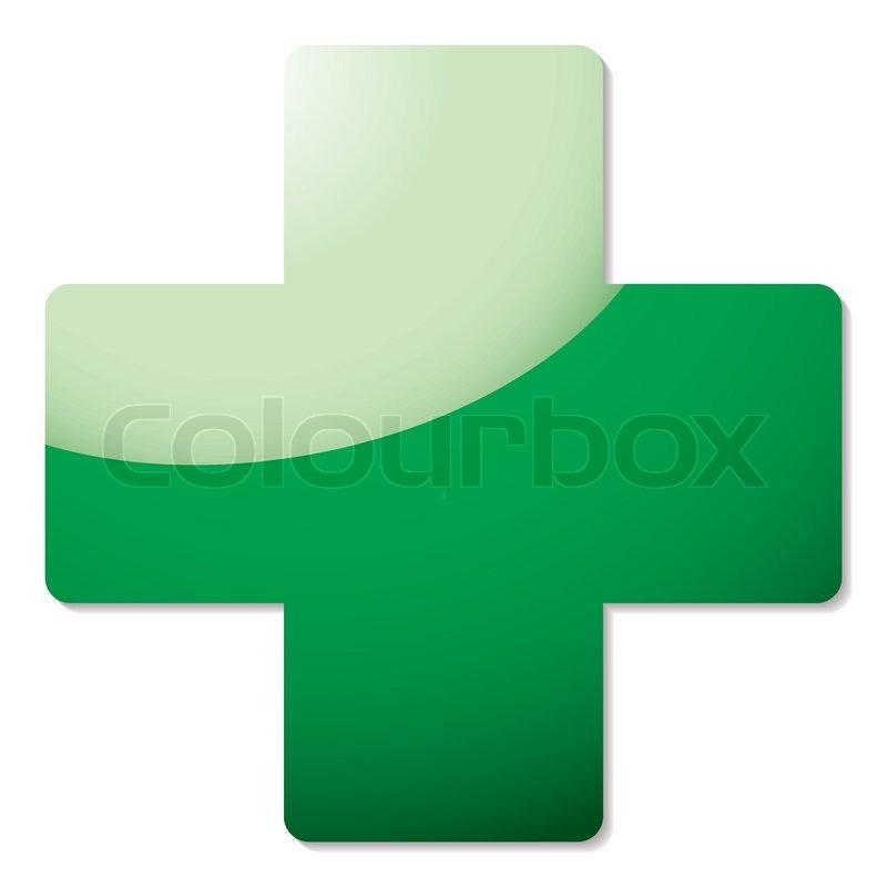 Grünes Kreuz-Symbol mit Licht Reflexion und Drop shadow ...
