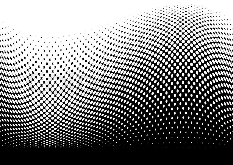 Line Art Vs Halftone : Abstract black modern surf wave made with halftone dots