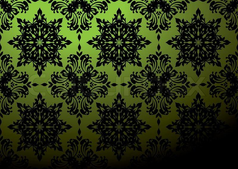 Schwarze Tapete Gl?nzend : Gothic wiederholen Tapete Design in gr?n und schwarz Stock-Vektor