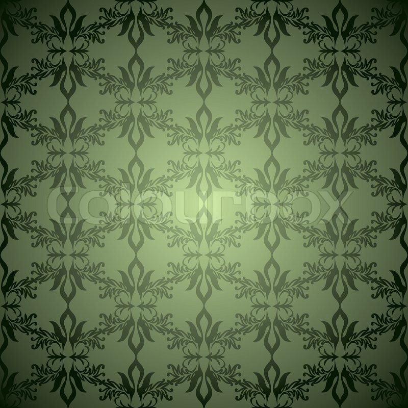 green and black old fashioned wallpaper design with