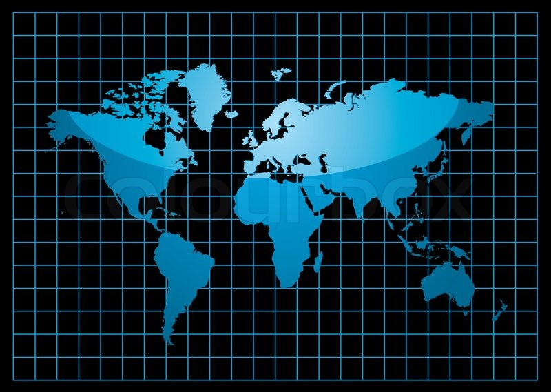 Blue world map with light reflection and grid on a black background blue world map with light reflection and grid on a black background stock vector colourbox gumiabroncs Image collections
