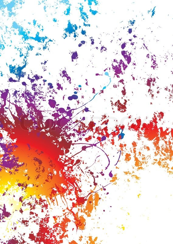 White Background With Rainbow Grunge Effect Paint Splat