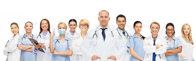 Medicine, profession, teamwork and healthcare concept - international group of smiling medics or doctors with clipboard and stethoscopes over white background, stock photo