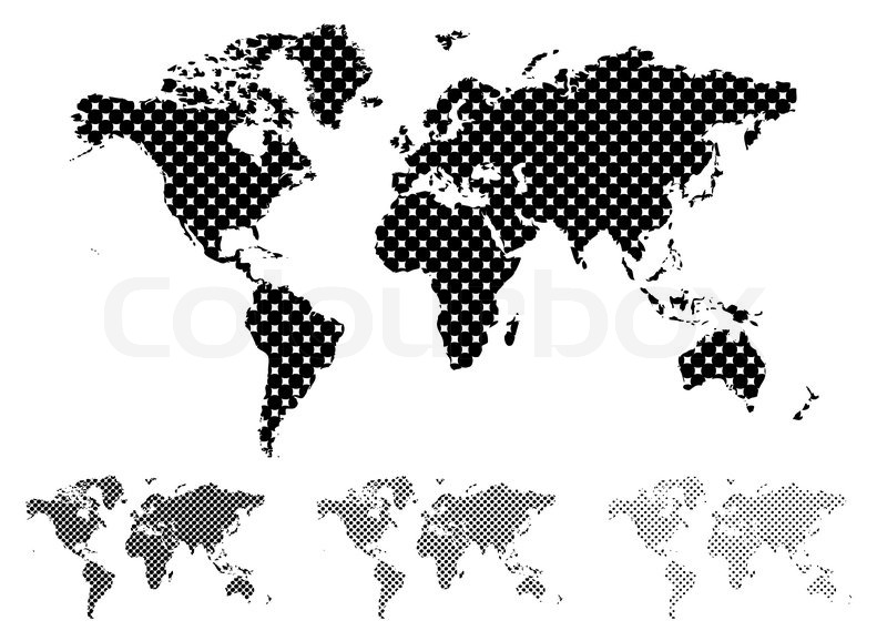Black and white halftone map of the world with different tint values black and white halftone map of the world with different tint values stock vector colourbox gumiabroncs Choice Image