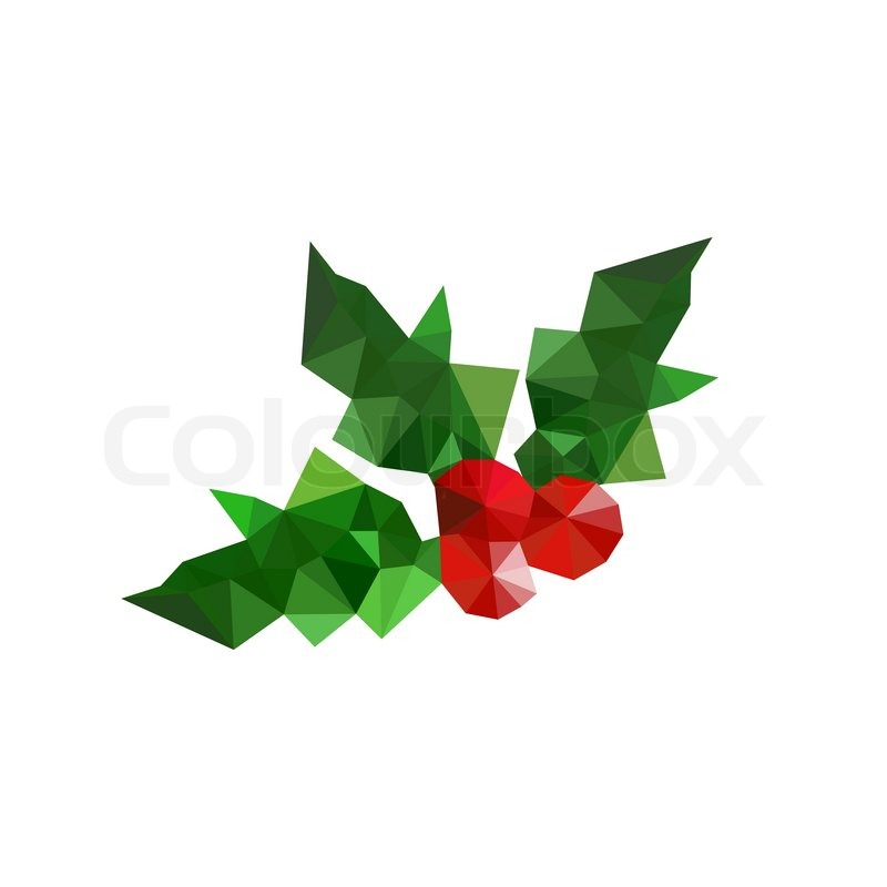 Illustration Of Origami Christmas Holly Leaves Vector