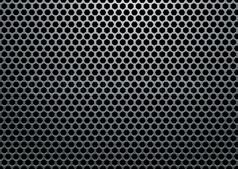 Silver Metal Background With Hexagon Holes And Light