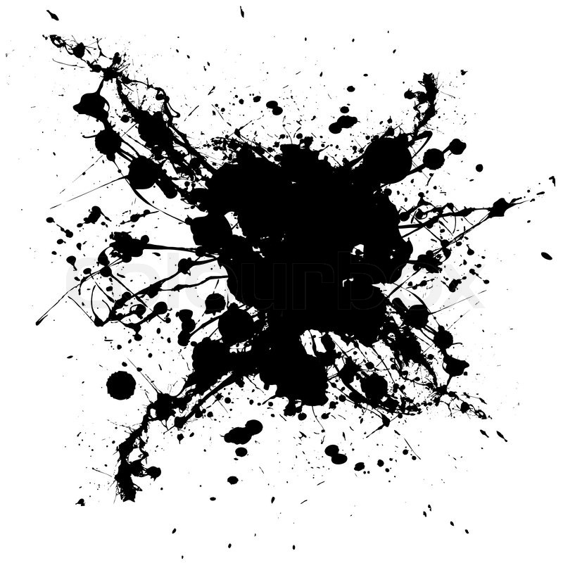 Black and white ink splat with random shapes and dirty grunge effect