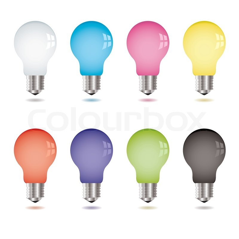 Collection of eight brightly coloured light bulbs with shadow, vector