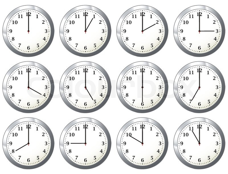 office wall clock with full days time variations with hour hand