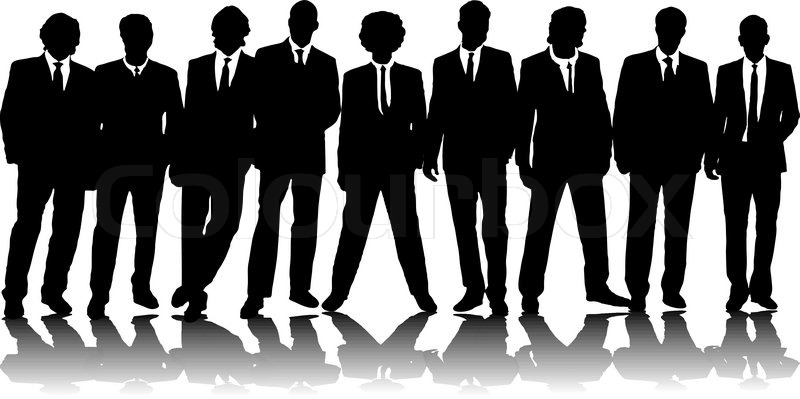 A group of nine business people in black silhouette | Stock Vector ...