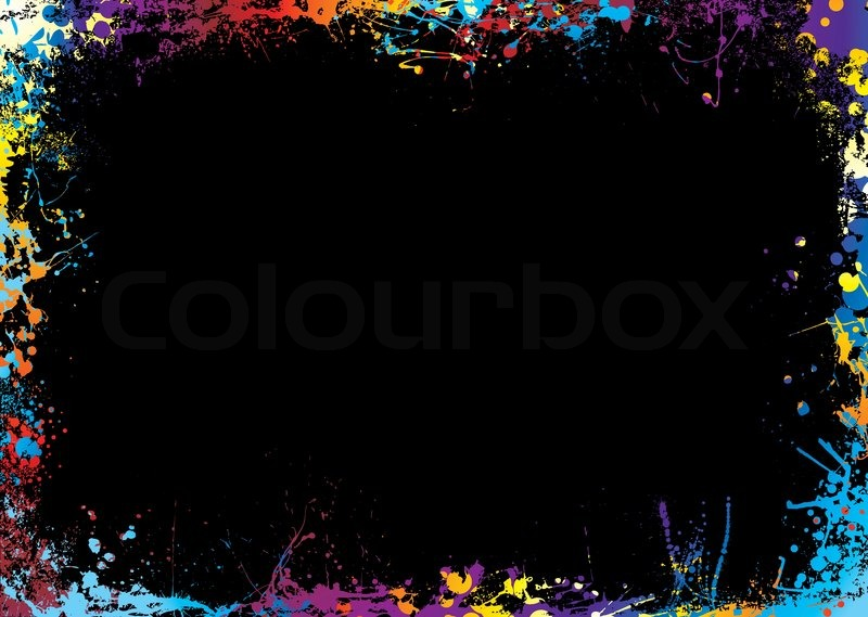 black background with a rainbow ink splat border stock vector colourbox. Black Bedroom Furniture Sets. Home Design Ideas