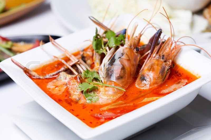 Tom yam kung , sour and spicy of shrimp soup / Thai Food | Stock Photo ...