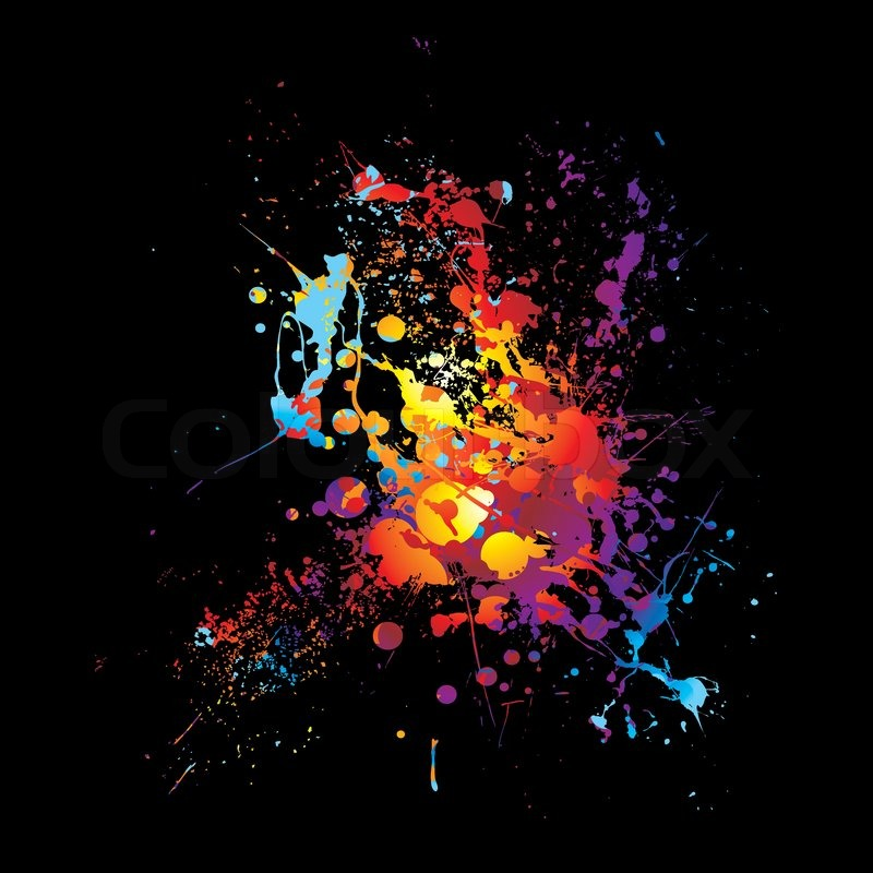 rainbow ink splat with abstract bright colors with black