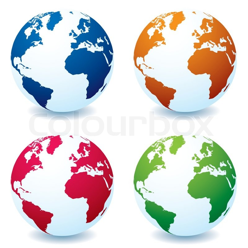 Stock vector of 'Four illustrated realistic earth globes in different colors and shadow'
