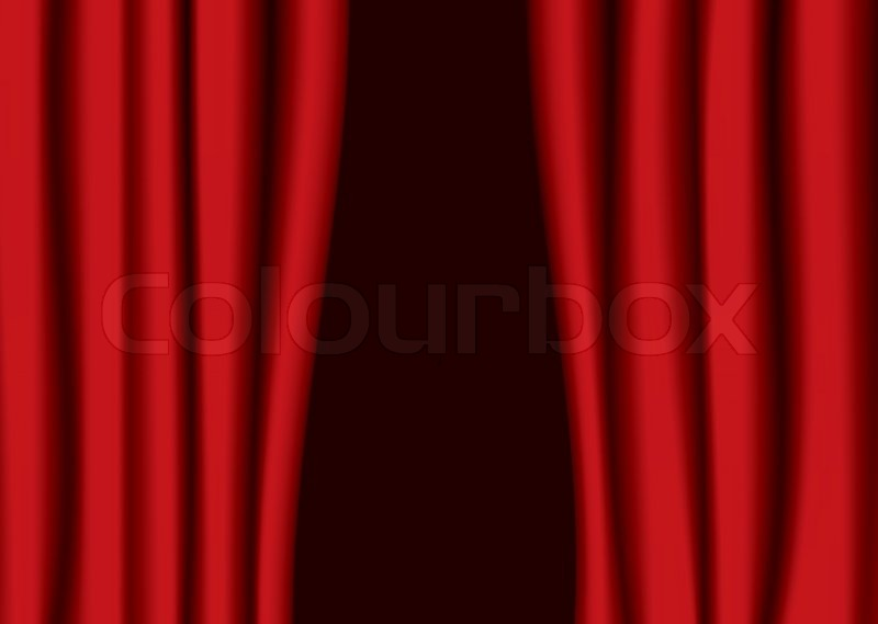 Red Theater Curtains Partly Open With Stock Vector
