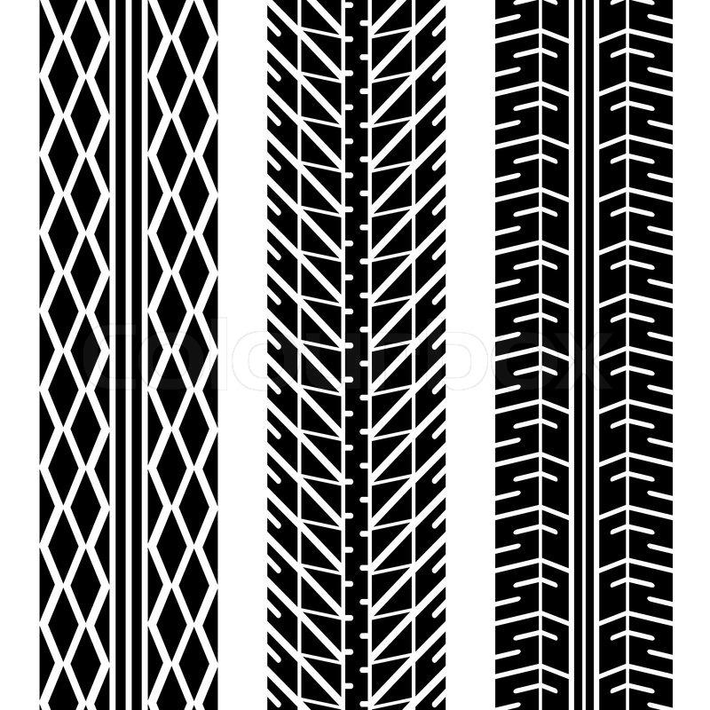 New Tire Tread Depth >> Three different tire tread patterns in black and white | Stock Vector | Colourbox