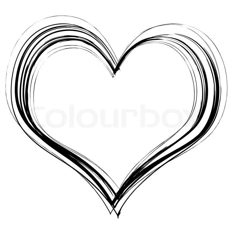 Love Heart In Black Pencil Scribble With A White Background