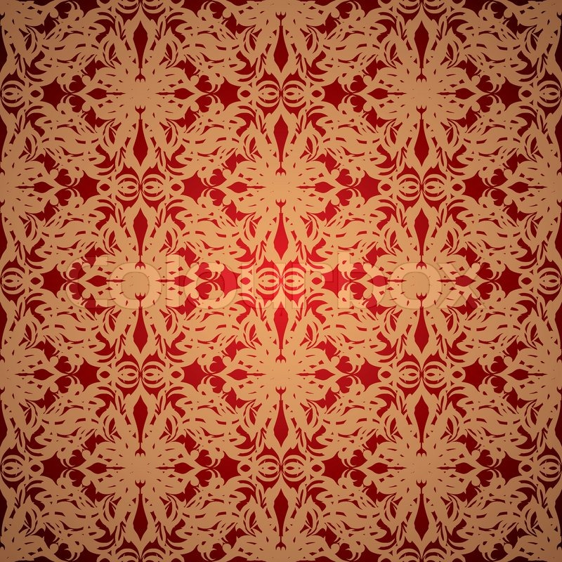 abstract red and gold wallpaper design with seamless