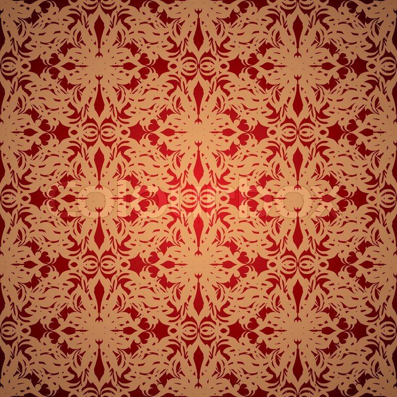 abstrakt rot und gold tapete entwerfen mit nahtlosen wiederholen muster vektorgrafik colourbox - Tapete Rot Muster