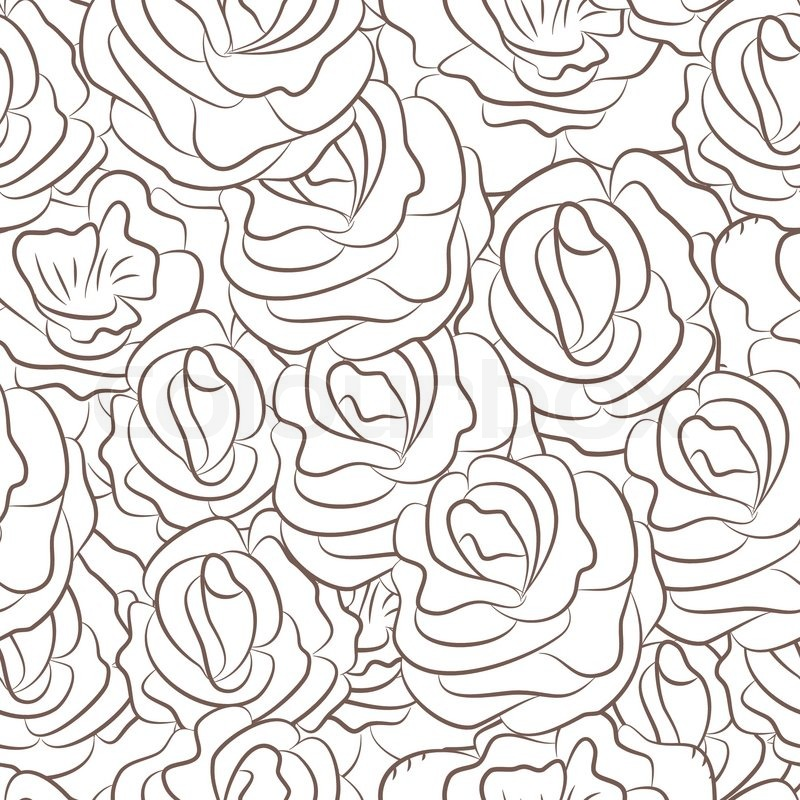 Seamless Pattern With Abstract Rose Stock Vector