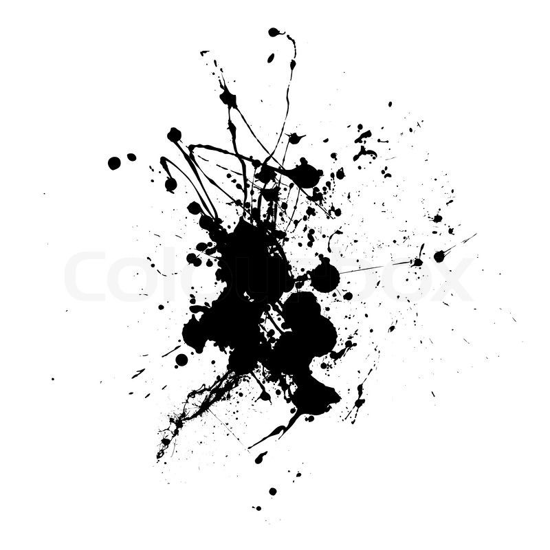 Black Abstract Ink Dropped On White Stock Vector