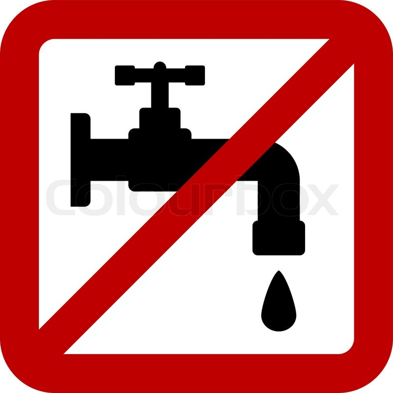 No Water Tap Sign On White Background Vector Illustration Stock Vector Colourbox