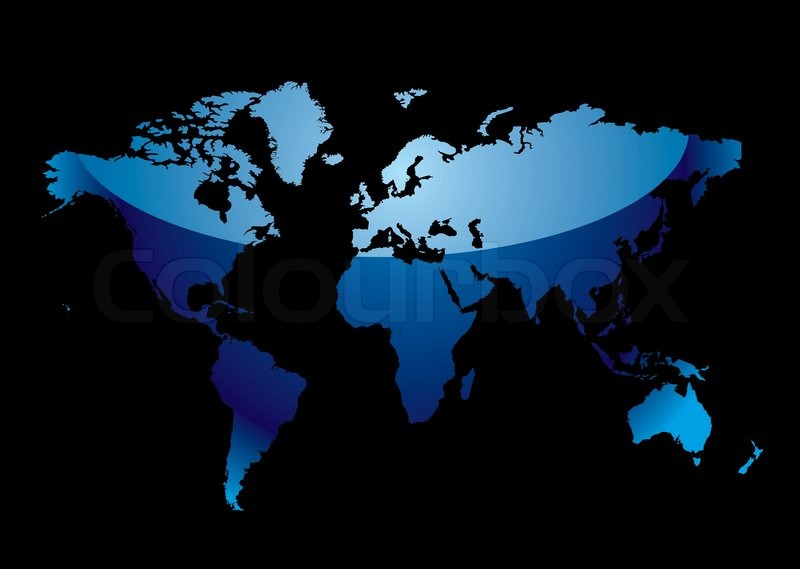 Blue world map with light reflection and black background stock blue world map with light reflection and black background stock vector colourbox gumiabroncs Images