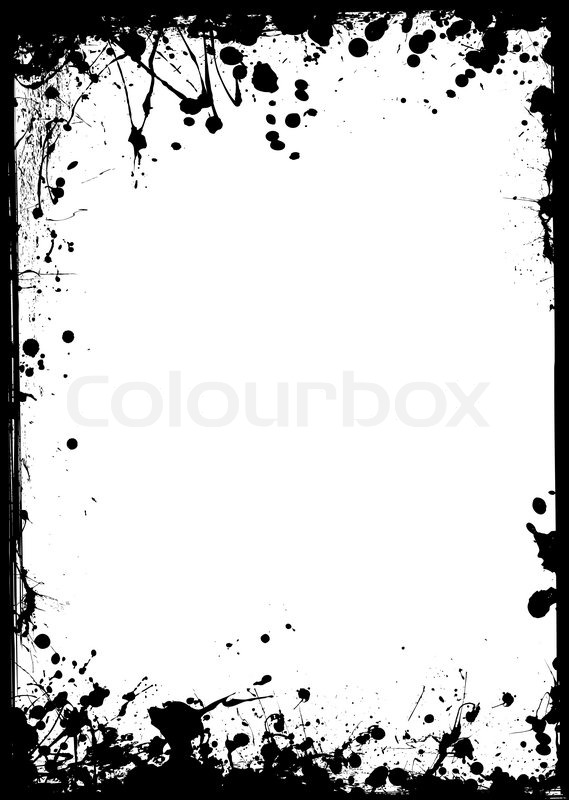 black ink border with white center and ink splat stock