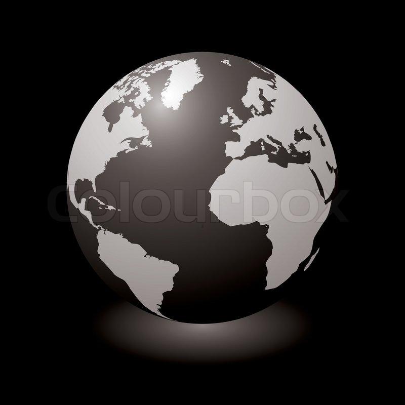 moderne globus mit licht schatten und schwarzem. Black Bedroom Furniture Sets. Home Design Ideas